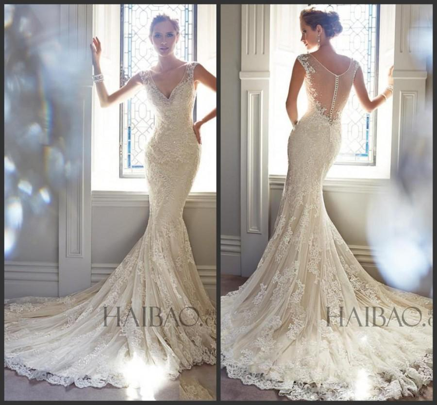 Best selling 2015 vintage wedding dresses v neck sheer for Lace button back wedding dress