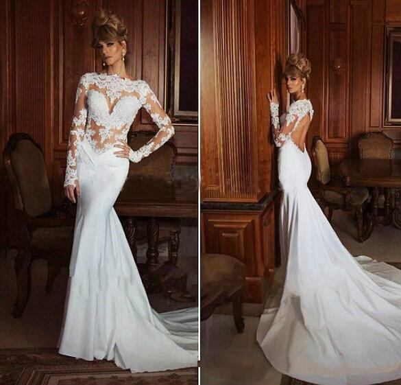 Hochzeit - 2015 Hot 2014 New Arrival Sexy Open Back Stain And Lace Long Sleeve Mermaid Wedding Dresses Online with $134.65/Piece on Hjklp88's Store
