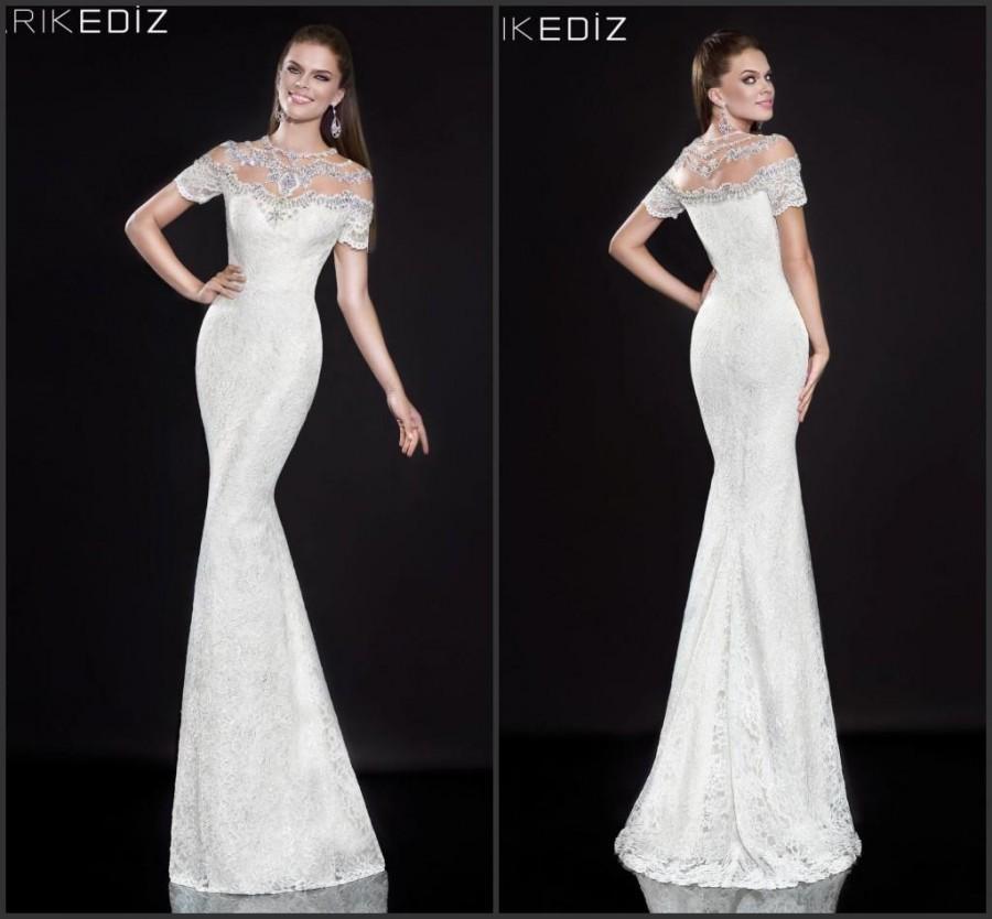 زفاف - Half Sleeve Tarik Ediz Mermaid Evening Dresses Lace Crystal White Heavy Beads Party Formal Gowns Dress For Woman Special Occasion Dresses, $129.06
