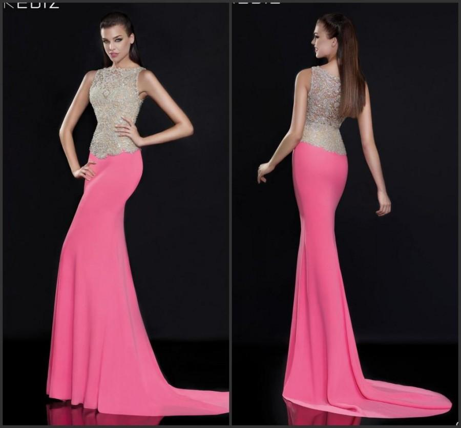 201c267591b New Designer 2015 Fashion Sweep Tarik Ediz Mermaid Evening Dresses Sheer  Crystal Beads Special Occasion Dresses Party Formal Gowns Dress Online with  ...