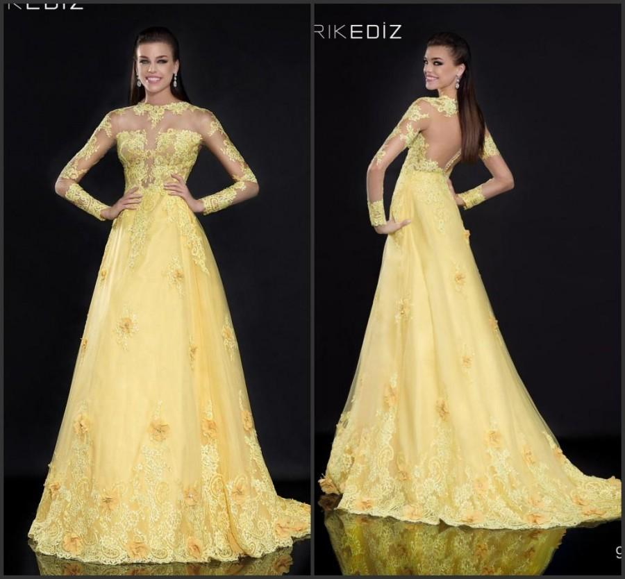 Wedding - Long Sleeve Sheer Lace 2015 Evening Dresses Yellow Tulle A-Line Tarik Ediz Sheer Backless Woman Dresses Long Prom Party Formal Gowns Custom Online with $130.84/Piece on Hjklp88's Store