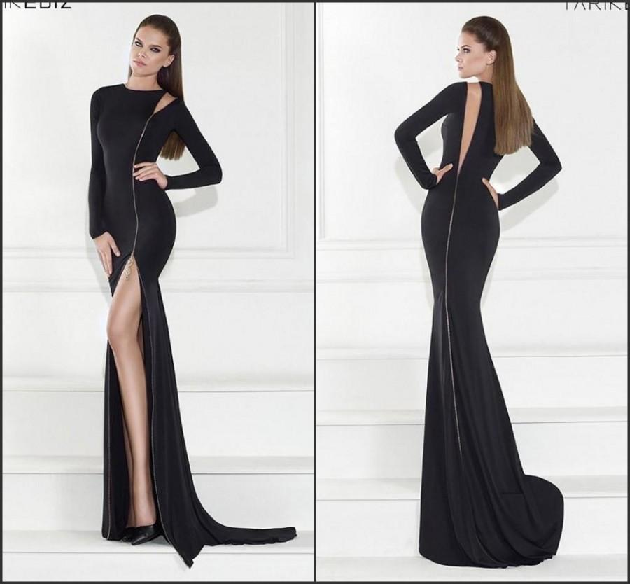 Black Long Sleeve Split 2015 Mermaid Evening Dresses Vestidos De