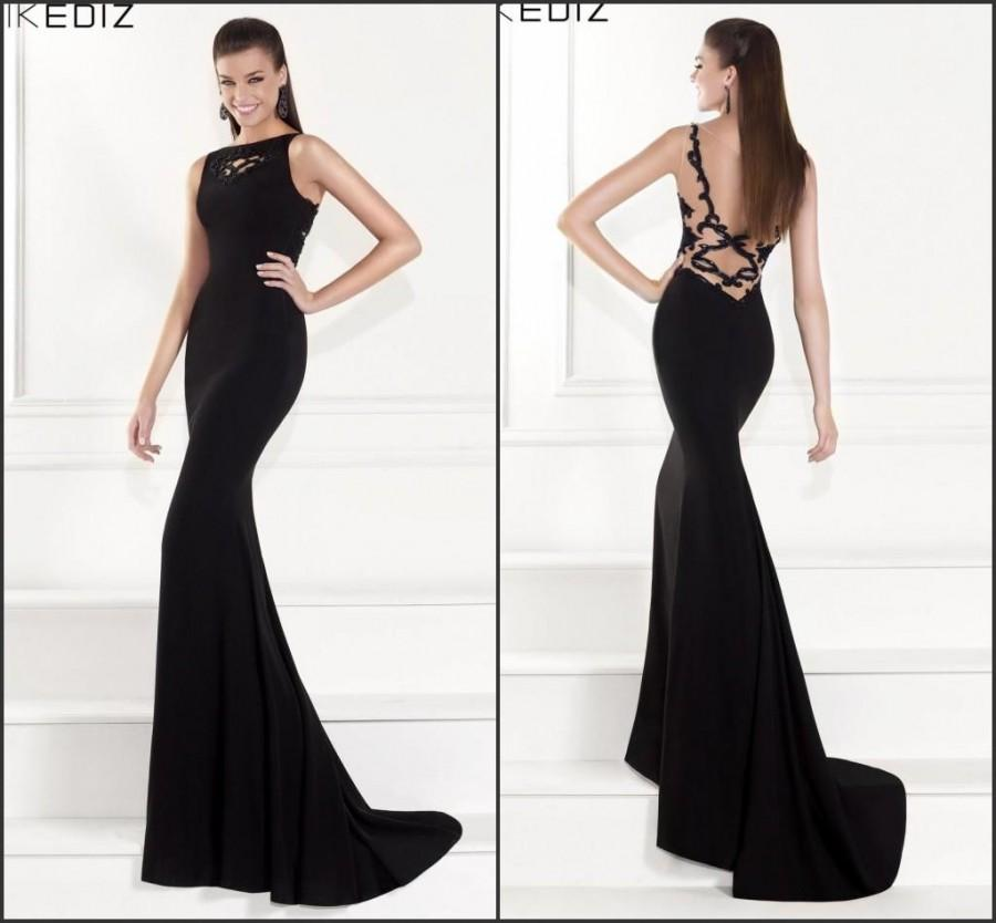 Custom 2015 Mermaid Evening Dresses Prom Black Beaded Backless ...