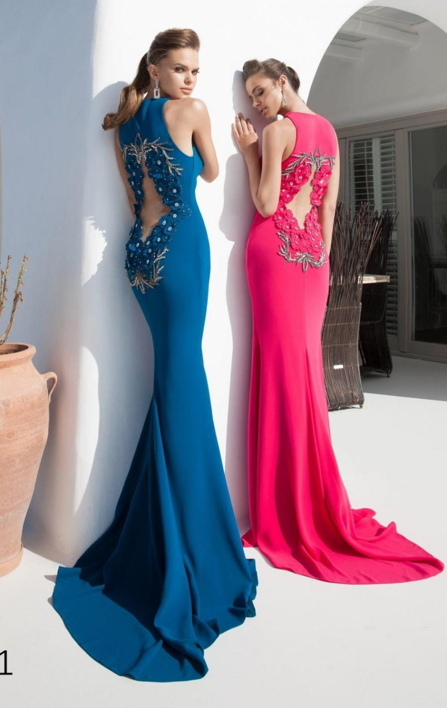 Wedding - Exquisite 2015 Mermaid Sexy Evening Dresses Prom Cheap Split Beaded Flower Hollow Satin Party Dress Formal Gowns Tarik Ediz Sweep Train Online with $130.84/Piece on Hjklp88's Store