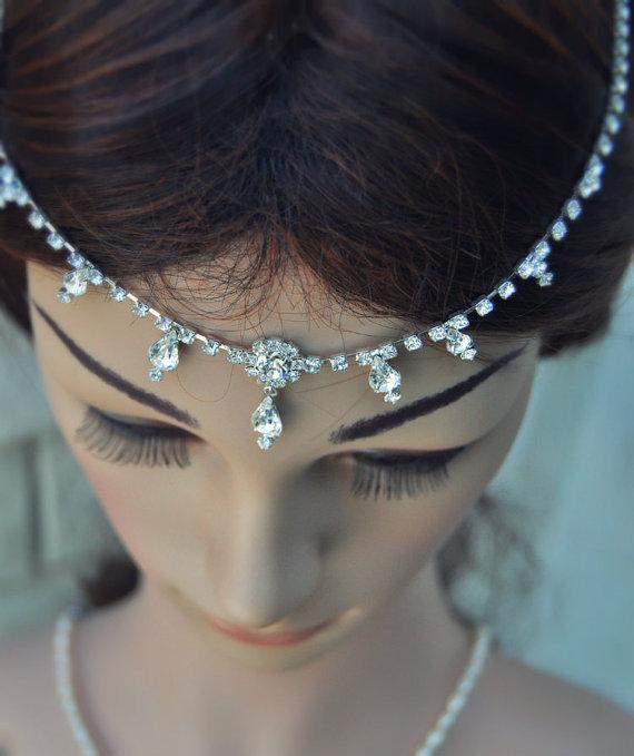 Wedding - Wedding Tikka Headpiece - Indian Inspired Crystal Jewelry- Hair Jewelry, Wedding hair Accessories, Rhinestone Head Piece,