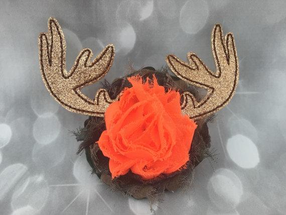 زفاف - Master Hunter Deer Antler Glitter Feltie Camo Fluffy Floral Pet Collar Flower - Cat Dog Accessory