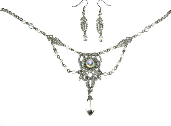 Wedding - VICTORIAN NECKLACE and Earrings Set - Festoon Gothic Renaissance Prom Wedding Bridal Jewelry - Crystal AB and Antiqued Silver