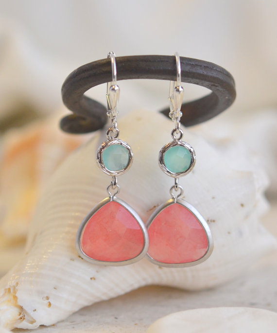 Mariage - Coral Pink Teardrop and Aqua Jewel Dangle Earrings in Silver. Fashion Earrings. Bridesmaid Earrings. Drop Earrings.