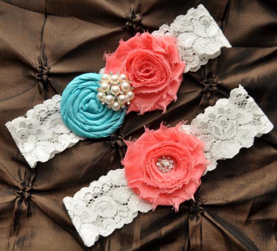 Свадьба - Wedding Garter Set, Bridal Garter - Lace Garter, Rolled Silk Aqua Tiffany Blue, Shabby Coral Wedding Garter Belt, You Design / Pick Colors