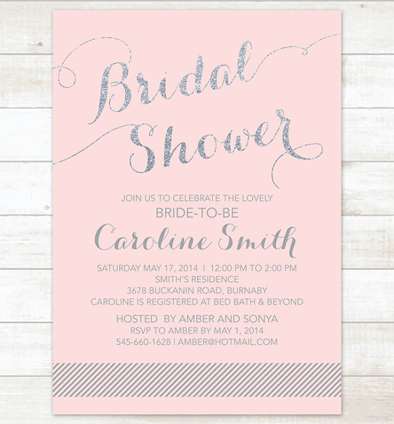 Pink Silver Bridal Shower Invitation Pink Silver Glitter Printable