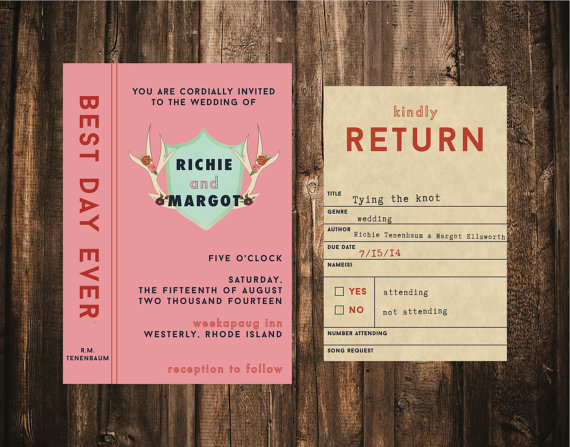 زفاف - Wes Anderson Styled Library Wedding Invitation // DIY Printable // Modern Wedding