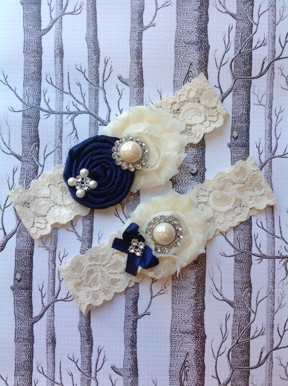 Wedding - wedding garter / NAVY BLUE  / bridal  garter/  lace garter / toss garter / Something BLue wedding  garter / vintage inspired lace garter