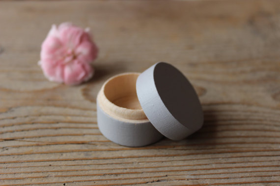 Свадьба - Wooden Box / Ring Bearer Box / Gray Ring Box / Round Ring Box / Engagement Ring Box