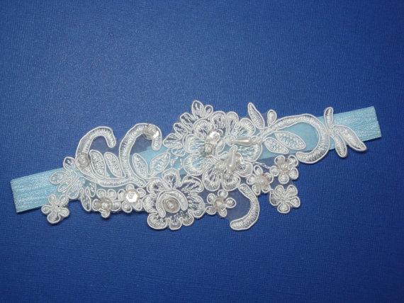 Mariage - White and Blue Wedding Garter