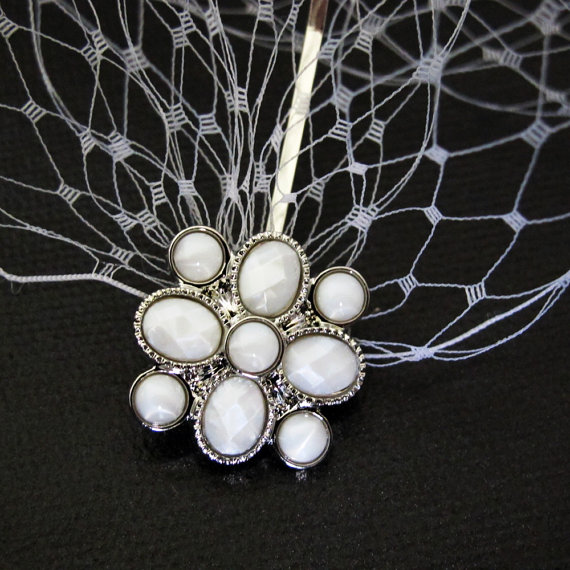 Hochzeit - Ivory Bandeau Style Birdcage Veil Wedding Bridal Blusher 9 inches x 15 inches on Silver Toned Bobby Pins with Ivory Embellishments