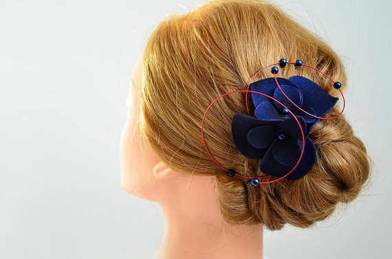 Navy blue and red wedding headpiece Bridal fascinator Wedding hair comb  Wedding fascinator Wedding hair clip Bridal hair accessories 0abc56af09e