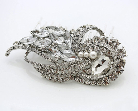 Wedding - Silver Wedding Hair Comb Bridal Accessories Crystal Hair Piece Swarovski Pearl Rhinestone Bridal Headpiece