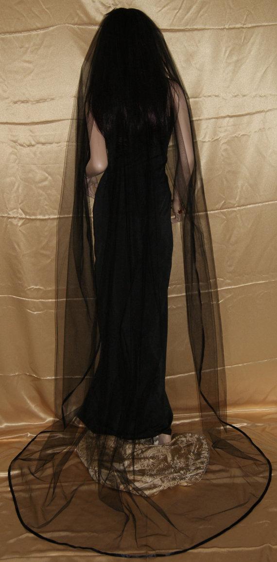 "Wedding - Gothic Black Cathedral wedding veil costume one tier 108"" width 90"" length satin ribbon edge"