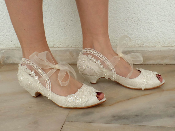 """Mariage - Embroidered Lace Bridal Shoes with Pearls in Ivory,1.5""""Heels Peep Toes- Elegant Wedding Shoes"""