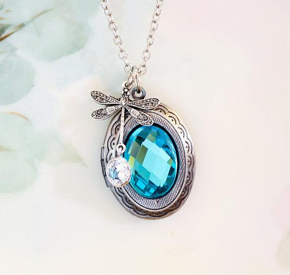Mariage - Aqua Blue Necklace Dragonfly Photo Locket with Checker-Cut Aquamarine Glass Cabochon March Birthstone Picture Locket Friendship Gift Idea