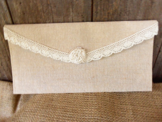 Mariage - Shabby Chic Burlap and Lace Wedding Clutch / Bridesmaid's Burlap Clutches