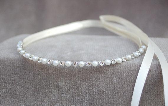 Wedding - Flower Girl Rhinestone & Pearl Tiara / Flower Girl Headpiece / Bridesmaid / Wedding Headband / Princess / Girls Tiara