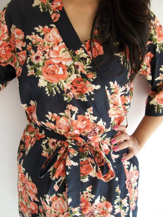 Mariage - Code: B-1 Sexy Black Floral Kimono Crossover patterned Robe Wrap - Bridesmaids gift, getting ready robes, Bridal shower favors, baby shower