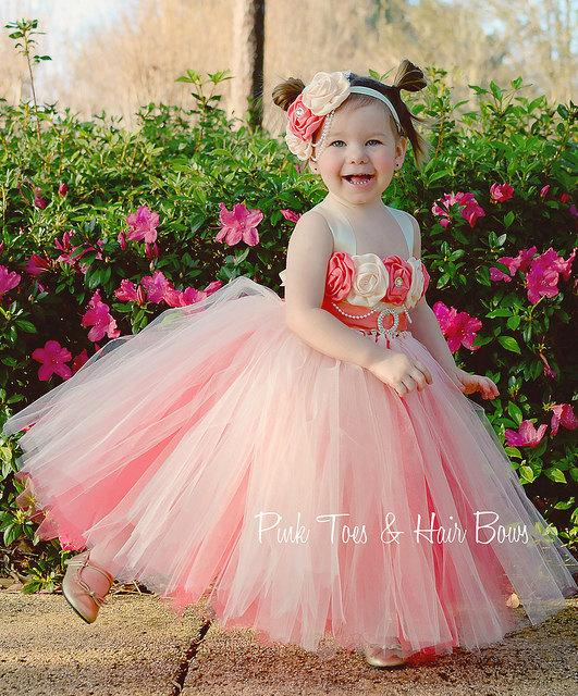 Düğün - Ivory and Coral Flower girl dress- Lace and ivory flower girl dress-Vintage inspired flower girl dress
