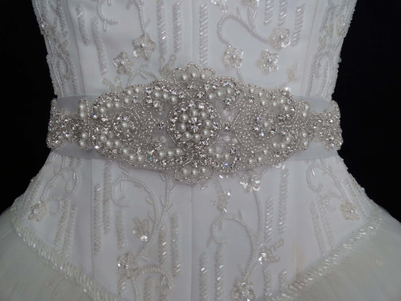 White beaded appliqué inches inches