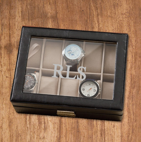Menu0027s Watch Box - Personalized Engraved Groomsmen Gift Birthday Gift for Him Wedding Gift Fatheru0027s Day & Menu0027s Watch Box - Personalized Engraved Groomsmen Gift Birthday ...