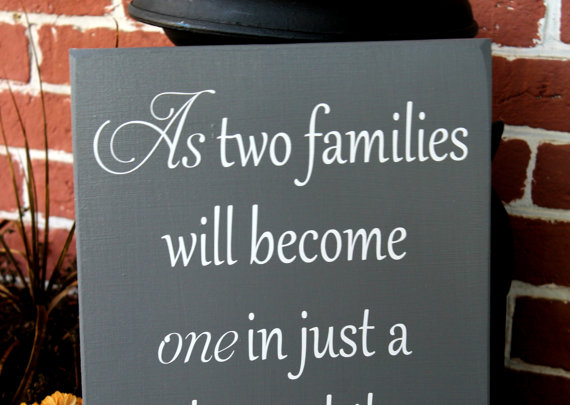 "Wedding - 11"" x 23"" Wooden Wedding Sign - As two families will become one - Ceremony sign, pick a seat not side"