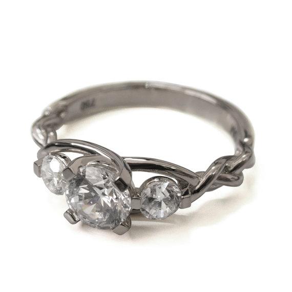 زفاف - Braided Engagement Ring - 18K White Gold and Diamond engagement ring,diamond ring, engagement ring, celtic ring, three stone ring