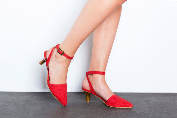 Sale 30% Off Red Ankle Strap Heel Sandals - Kitten Heel Red ...
