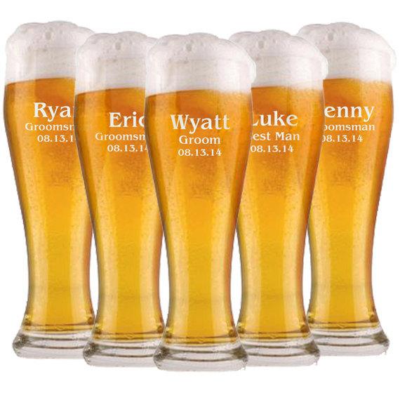 زفاف - Custom Beer Glasses, Wedding Party Favors, Groomsmen Gifts, Will You be My Groomsman, Beer Mugs, Custom Pilsner, Unique Groomsmen Gift