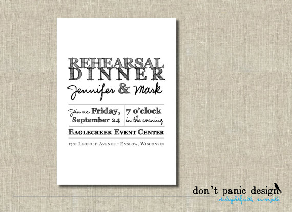 Mariage - Printable Invitation - Rustic, Classic Rehearsal Dinner Invitation - Black and white - Custom Colors - RDP2