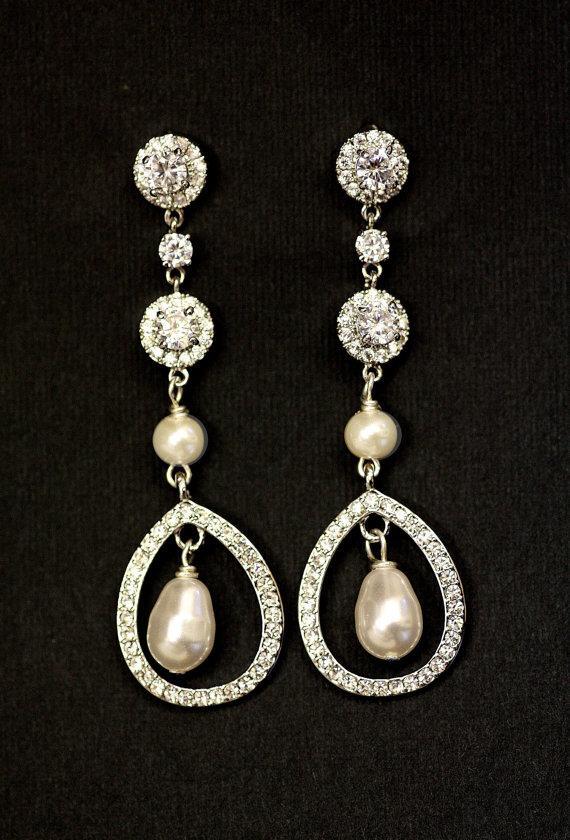 Свадьба - Bridal Earrings- Knot Earrings, Chandelier Earrings, Wedding Earrings, Crystal Earrings, Wedding Earrings, Cubic Zirconia