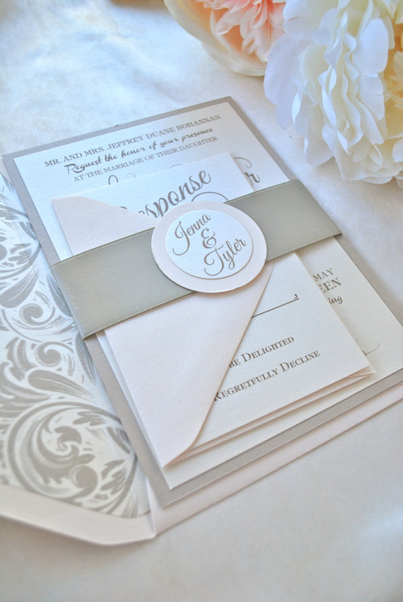 Hochzeit - Reserved listing for Kathryn--Romantic Champagne and Blush Wedding Invitation