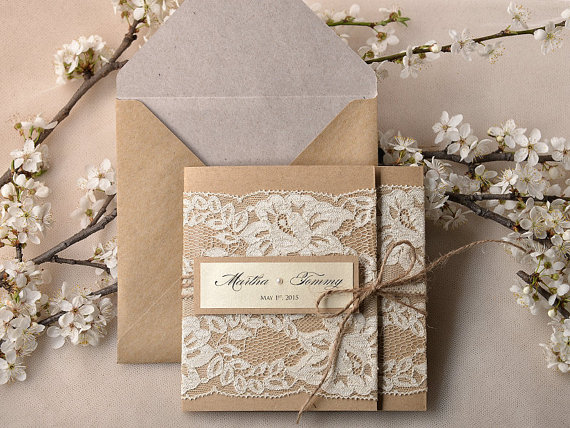 زفاف - Custom listing (20) Recycling Paper, Lace Wedding Invitation, Pocket Fold Rustic Wedding Invitation