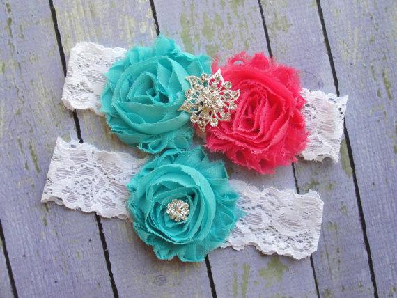 Свадьба - SALE Garter Wedding, Wedding Garter Belt, Garter Sets, Bridal Garter, Custom Garter, Aqua and Pink Garter, Hot Pink Garter Something Blue