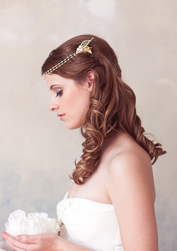 Hochzeit - Gold, Pearl, Crystal Chain Wrap Headband, Pearl Halo, Bridal Halo Headpiece, Wedding Headdress, Bridal Hair Piece, Forehead Piece, STYLE 315