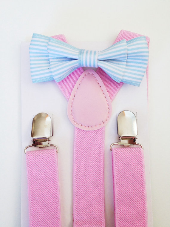 Mariage - Suspender Bow tie set Light Blue Baby bow tie Pink Suspenders Blue striped Boys Bowties Baby Blue Toddler Necktie Seafoam Mens bow tie