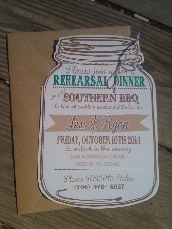 mason jar rehearsal dinner invitation rehearsal dinner invitation