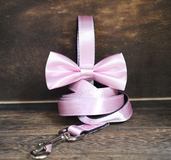 Свадьба - Wedding Satin Bow leash 4' for wedding party ring bearer girl dog, Pet Wedding Accessory, Dog Lovers