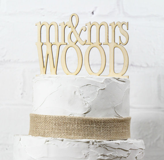 """Свадьба - 6"""" Wide Rustic Wedding Cake Topper or Sign Mr and Mrs Topper Custom Personalized with YOUR Last Name Paintable Stainable Wood"""