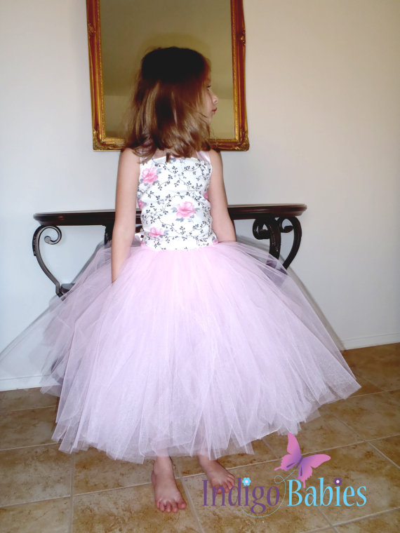 Wedding - Flower Girl Dress, Weddings, Tutu Dress, Pink Tutu, Ivory Top, Pink Flowers, Reception, Ballerina, Bridesmaids Tutu, Wedding