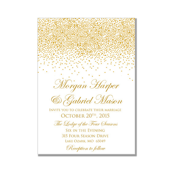 Printable Wedding Invitation Gold Wedding Gold Sparkles DIY