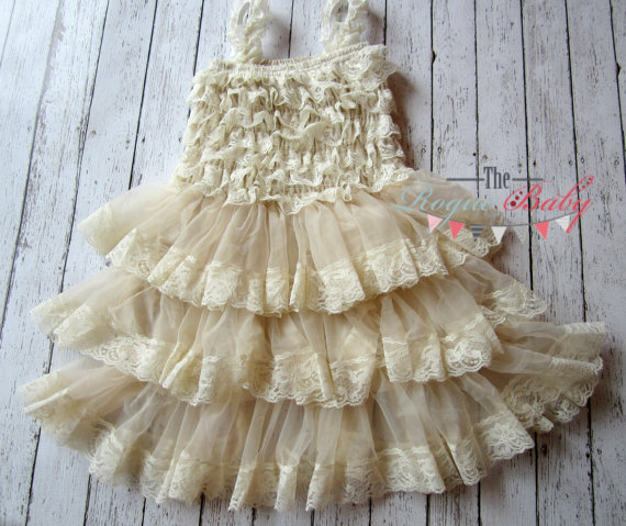 de3c3d1ea Baby Girl Cream Ruffle Lace Petti Dress - Vintage Look - Flower Girl ...