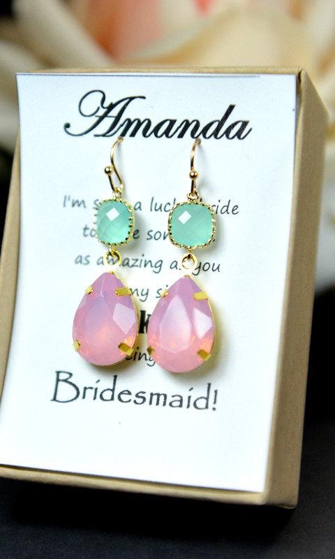 Wedding - Mint blush pink earrings,mint bridesmaid earring,mint gold earring,mint pink bridesmaid jewelry,wedding jewelry,drop dangle,bridesmaid gifts