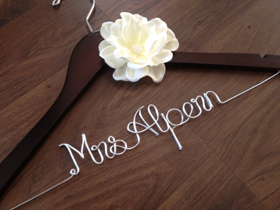 Wedding Dress Hanger Bride Bridal Personalized Custom Mrs Bridesmaids Gift