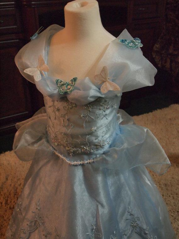 Mariage - w/tiara little girls sz. 5 - 6 CINDERELLA DRESS with BUTTERFLIES cinderella ball gown flower girl dress princess dress